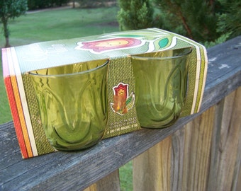 Vintage Colonial Tulip Juice Glasses...Green...New Old Stock...NOS...Anchor Hocking Corp.