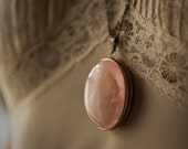 Solid Perfume Locket Necklace with Rose Quartz Crystal - For Strange Women Natural Perfume - brass locket pendant