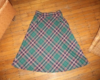Vintage Wool Swing Sock Hop A-Line Circle Plaid Skirt 1970's does 1940's 1950's Teal Navy Red White Small Medium