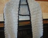 Grey With Specks Of White And Black Furry Trim Crochet Shawl Wrap Stole With Pockets