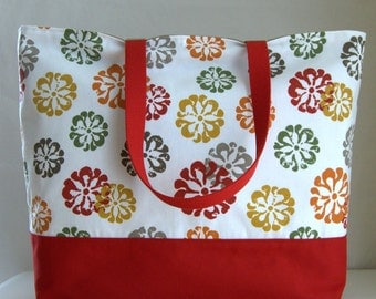 Stamped Flowers XL Extra Large BIG Tote Bag / Beach Bag - Ready to Ship