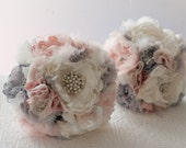 Fabric Brooch Bouquet, Fabric Flower Wedding Bouquet, bridal flower rhinestone and pearl brooches, silk flowers, silver gray grey broaches