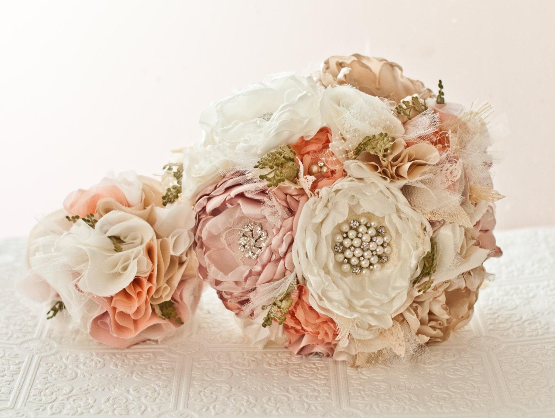 Fabric Wedding Bouquet Fabric Brooch Bouquet Bridal Flower