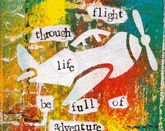 """Flight of Life 5""""x7"""" Blank Birthday Card with Envelope, Birthday Cards, Cards with a Plane, Stationery, Wholesale Cards"""