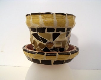 Mosaic Flower Pot  with Saucer  Browns and Gold