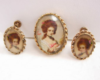 Antique Victorian miniature demi parure Hand painted PORTRAIT Brooch earrings 12kt gold filled under glass