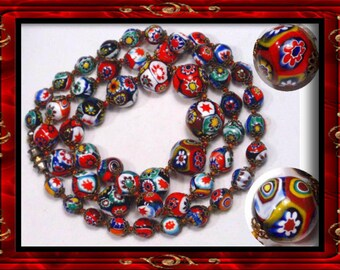 BIG vintage MURANO millefiori GLASS necklace vintage antique jewelry Millifiori