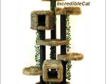MAJESTIC Cat FURNITURE. 6' High Breckenridge, Best Cat Beds, High End Cat Trees, Elegant Cat Condos, Modern Cat Tree Breckenridge 2BHT2Lp