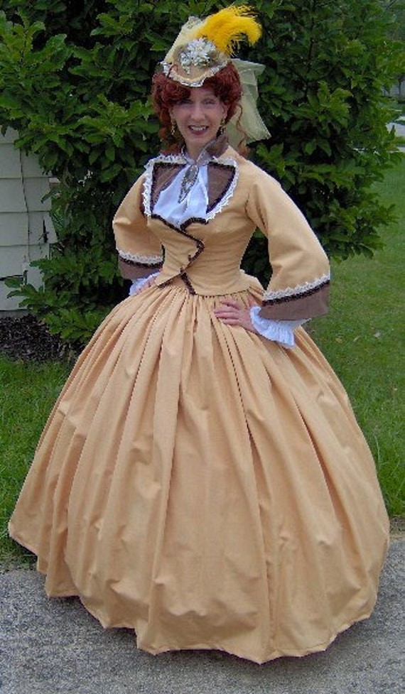 FOR ORDERS ONLY  Special Made to Fit You  1800s Victorian Dress 1860s Civil War Gown - Walking Traveling Suit - Bodice - Skirt  Reenactor