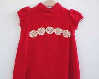 Vintage 1960's Toddler Girl Tunic - Red Velveteen with Daisies (3T)
