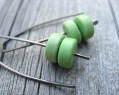mint green earrings. howlite beads. hypoallergenic niobium ear wires