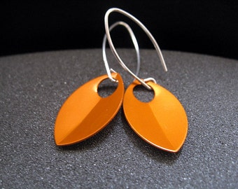 modern orange earrings. anodized aluminum dangle. sterling silver ear wire. splurge.