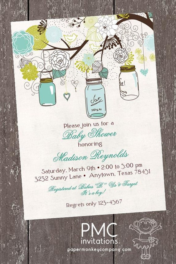 Vintage Baby Shower Invitation, Vintage Mason Jars Baby Shower ...