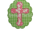 Machine Embroidery Design Applique Cross with Scallop Frame INSTANT DOWNLOAD