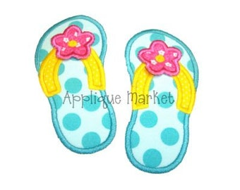 Machine Embroidery Design Applique Flip Flop 3d Flower INSTANT DOWNLOAD