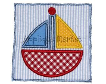 Machine Embroidery Design Applique Sailboat Patch INSTANT DOWNLOAD