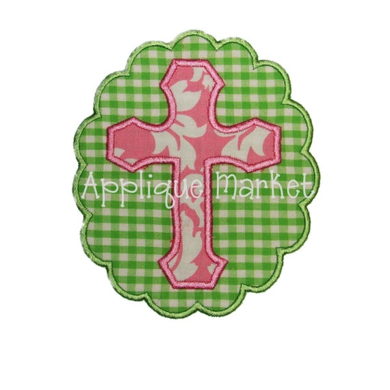 Machine embroidery design applique cross with scallop frame