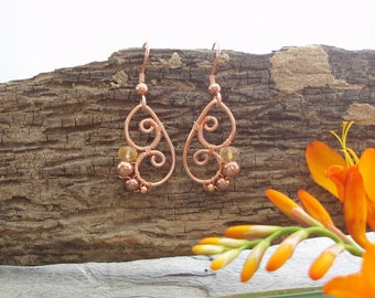 Butterfly Wing Earrings - Citrine faceted rondelle and copper
