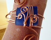Cobalt Blue Glass Beach Glass Copper Wire Wrapped Bracelet