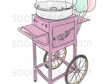 Cotton Candy Cart Old Fashioned  -Original Illustrate Drawing  A4 Print transfer on Pillows, t-shirts, scrapbook, lampshades  ETC.v