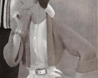 Shrug, bolero, top Vintage Knitting Pattern 122