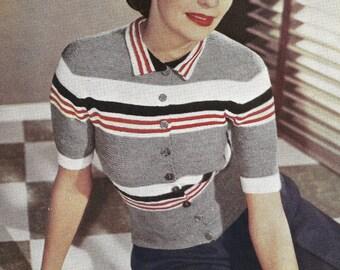 1948 Button Up Jumper Vintage Knitting Pattern 020