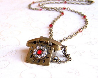 Rotary telephone necklace, steampunk antiqued brass, retro vintage style statement necklace with Swarovski crystal