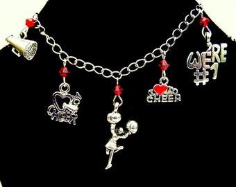 Cheerleader bracelet or necklace, pom pom charm, cheerleading coach, gift for teen, present for dancer, megaphone