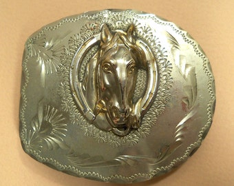Beautiful Vintage 1950's Silver Metal Horse Head Belt Buckle
