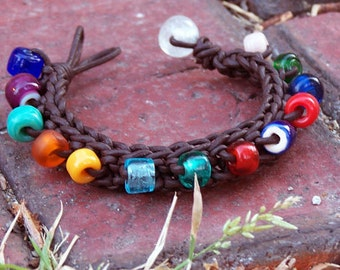 Handmade Knitted Leather Bracelet - Brown Leather, Colorful Glass Beads