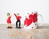 vintage heart mug, valentine's day coffee mug, ceramic 80s white and red mug