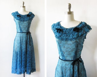 40s dress, vintage 1940s semi sheer swing dress, medium large dress