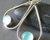 Sale Aqua Chalcedony Earrings, Teardrop Earrings, Hand Crafted, Metalwork, Sterling Silver Hand Forged Earrings