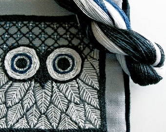 Crewel Embroidery Pattern DIY Embroidery Kit Needle Book Owl Silver Gray Crewel Embroidery Kit, Prairie Garden