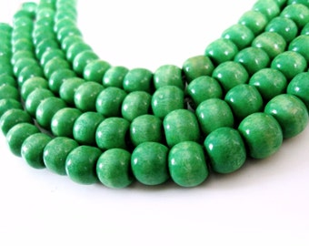 Wood round beads - Apple Green Natural Wooden Dye Beads 10x9mm - 30pcs  (PB222C)