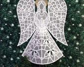 Heather Lace Angel Tree Topper With Gold Halo