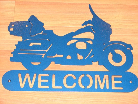 Harley Davidson Motorcycle WELCOME SIGN Home Decor Wall Biker Large Full Dressed