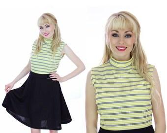 60s Mod Dress Vintage Circle Skirt Sixties 1960s Yellow & Black Striped Knit 70s 1970s Medium M Large L