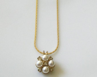 Vintage Faux Pearls & Rhinestone Pendant Necklace
