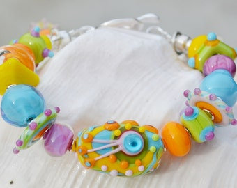 SWEET as CANDY-Handmade Lampwork and Sterling Silver Bracelet