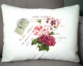 Lumbar Pillow Cover Decorative Throw Pillow Geraniums French Postcard Print on Natural - One 12 x 16 - newberrycottage