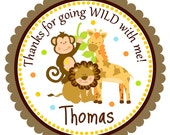 Jungle Stickers, Personalized Labels, Safari Favor Tags, Jungle Birthday Party - set of 12