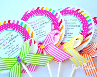 Lollipop Invitations, Candyland Lollipop Invitations, Candyland Birthday Party