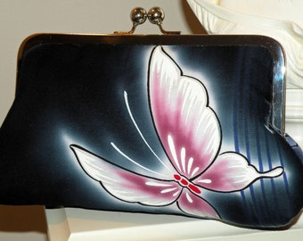 Kimono Fabric Clutch/Purse/Bag..Butterfly Wedding Theme/Cherry Blossom/Floral/Navy Blue/Magenta/Silk lined/Bridal Gift/Free Monogram