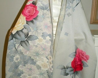 Silk Kimono Fabric Scarf/Shawl/Wrap/Shrug..Bridal wedding..Cherry Blossom..Rose Yellow Silver..Clutch available