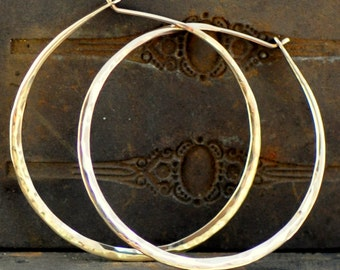 "gold hoop earring 14k gold, recycled 14k gold hoop, 1.5"", 1.75"", 2"", 2.5"" sizes, yellow or rose gold loop"