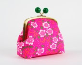 Clutch purse with metal frame - Fiora rose - Color bobble purse / Petit Pan fabric / Neon pink emerald green / floral pattern white flowers