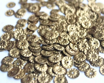 100 Metal base Round Sequins/Antique Golden Color/KBMS544