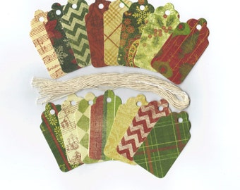 Christmas Gift Hang Tags - Yuletide Joy Scallop Die Cut Tags (15) Package Decor / Ready To Ship
