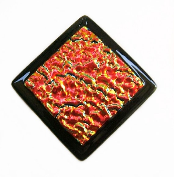 Hot Red Lava and Black Fused Dichroic Glass Tile